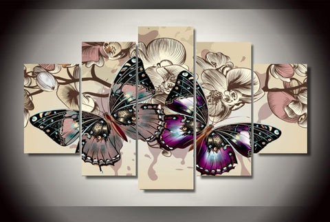 Butterflies In Motion 5-Piece Wall Art Canvas - Love Family & Home