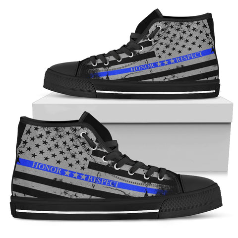 Image of Honor Respect Blue Line Women's Shoes - Women's High Top - Love Family & Home
