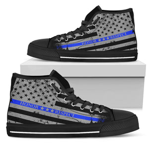 Honor Respect Blue Line Women's Shoes - Women's High Top - Love Family & Home