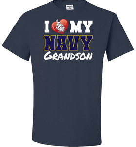 I Love My Navy Grandson Apparel (Can Be Customized) - Love Family & Home