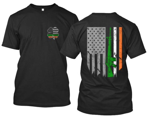 Irish American 4-Leaf Clover and American Flag With Irish Colors AK47 Apparel - Love Family & Home  - 1