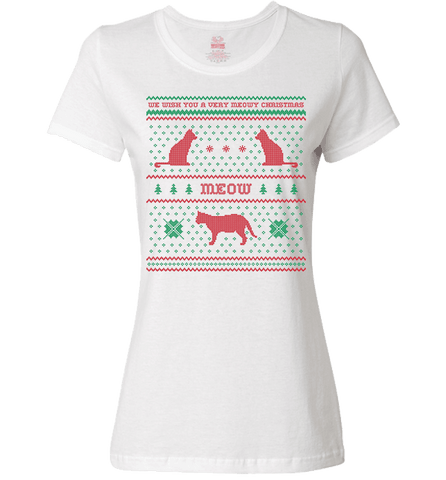 Image of We Wish You A Meowy Christmas - Cat Christmas Apparel - Love Family & Home