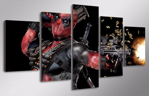 Image of Machine Gun Deadpool Limited Edition 5-Piece Wall Art Canvas - Love Family & Home