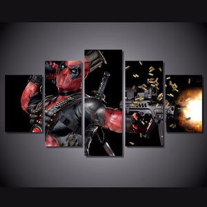 Machine Gun Deadpool Limited Edition 5-Piece Wall Art Canvas - Love Family & Home