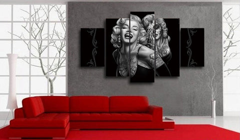 Image of Marilyn Smile Now Cry Later 5-Piece Wall Art Canvas - Love Family & Home