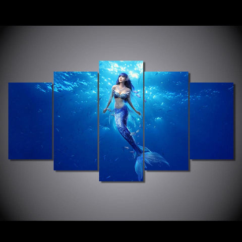 Mermaid Deep Blue 5-Piece Wall Art Canvas - Royal Crown Pro