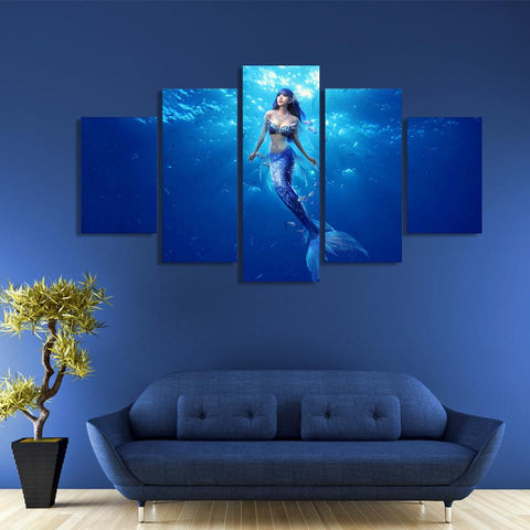 Image of Mermaid Deep Blue 5-Piece Wall Art Canvas - Love Family & Home