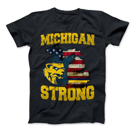 Image of Michigan Strong Wolverines State Flag Pride T-shirt & Apparel - Love Family & Home