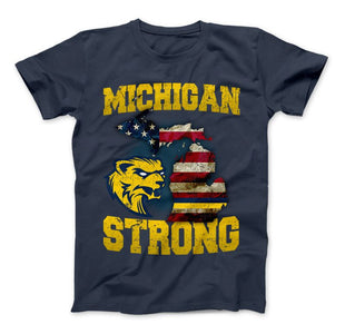 Michigan Strong Wolverines State Flag Pride T-shirt & Apparel - Love Family & Home