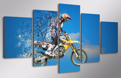 Motocross MX Dirt Bike 5-Piece Canvas Wall Art Hanging