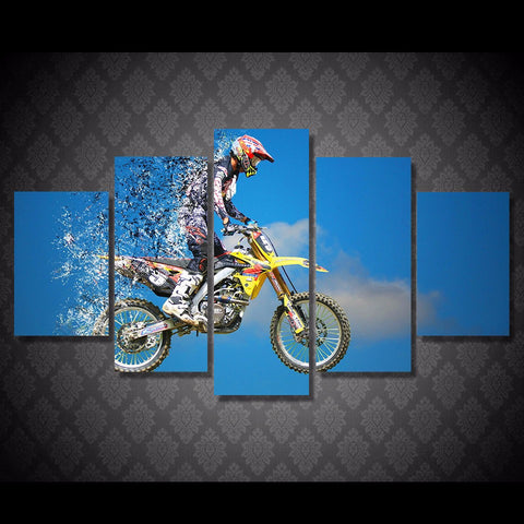 Image of Motocross MX Dirt Bike 5-Piece Canvas Wall Art Hanging - Love Family & Home