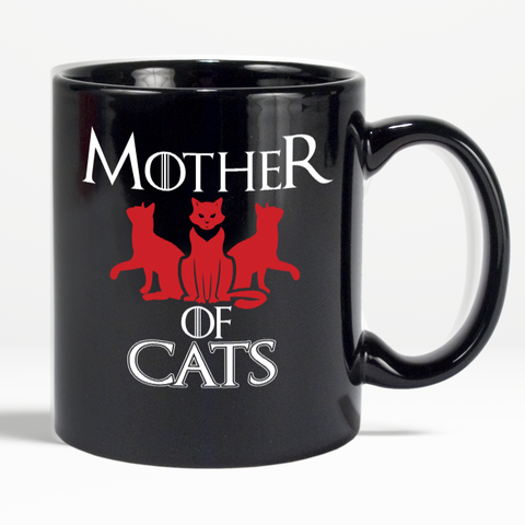Mother Of Cats Collectible Coffee 11 oz Black Mug For Cat Lovers - Love Family & Home