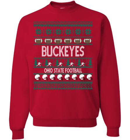"Image of Buckeyes Football ""Ugly Christmas Sweater"" Long-sleeve Sweatshirt - Love Family & Home"