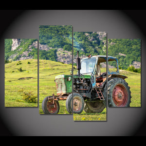 Old Green Tractor Classic Limited Edition 4-Piece Wall Art Canvas - Love Family & Home