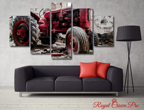 Image of Old Red Tractor Classic Collectors Edition 5-Piece Wall Art Canvas - Love Family & Home