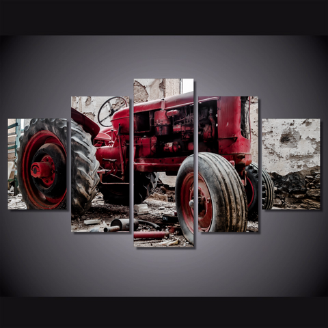 Old Red Tractor Classic Collectors Edition 5-Piece Wall Art Canvas - Royal Crown Pro