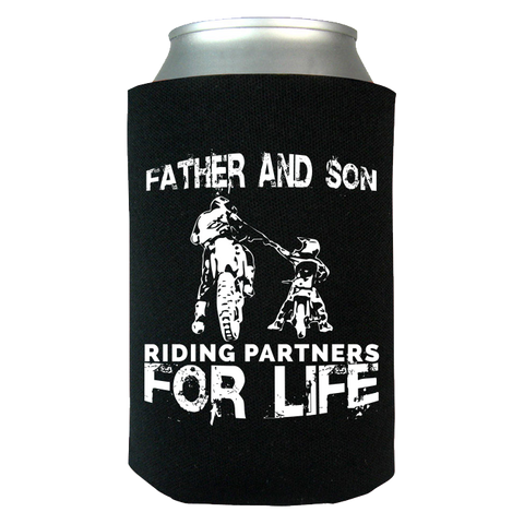 Father And Son Riding Partners For Life Can Koozie Wrap