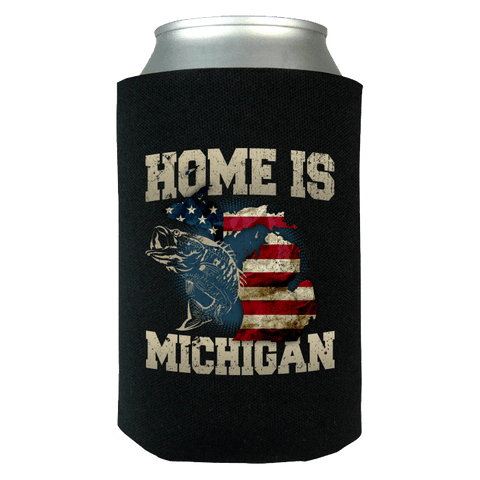Home Is Michigan State Fishing Flag Can Wrap Koozie