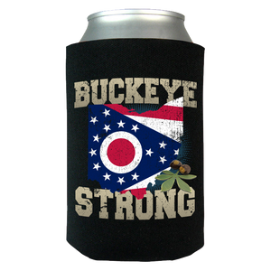 Buckeye Strong Ohio State Flag Limited Edition Print Can Koozie Wrap - Love Family & Home