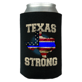 Texas Strong Thin Blue Line Law Enforcement Print Can Koozie Wrap