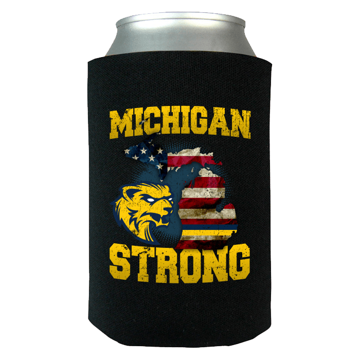 Michigan Strong Wolverines State Flag Pride Can Koozie