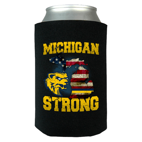 Michigan Strong Wolverines State Flag Pride Can Koozie Wrap - Go Blue