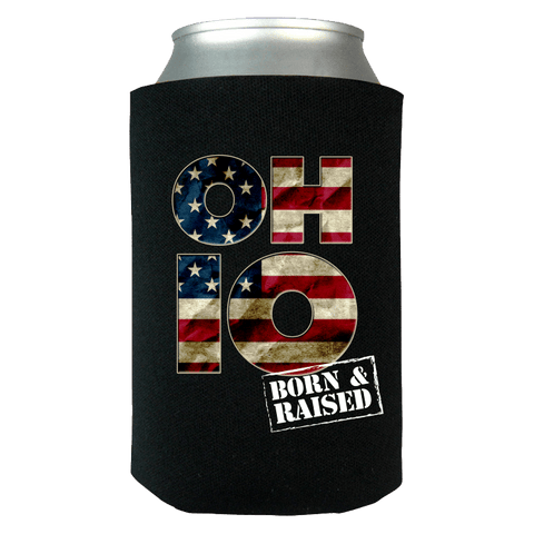 OHIO O-H-I-O BORN & RAISED Can Koozie Wrap - Love Family & Home