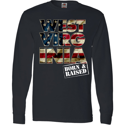 Image of West Virginia Born & Raised Patriotic T-Shirt & Apparel - Love Family & Home