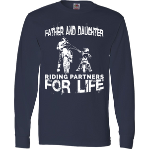 Father And Daughter Riding Partners For Life T-Shirt Motocross Supercross Dirt Bikes - Love Family & Home