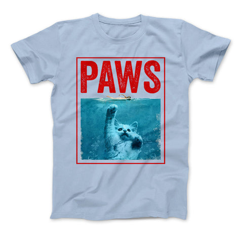 Image of PAWS Funny Cat Kitten T-Shirt For Shark And Cat Lovers - Love Family & Home