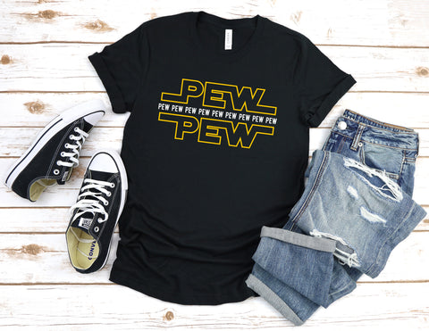 Image of Pew Pew Pew T-Shirt - Love Family & Home