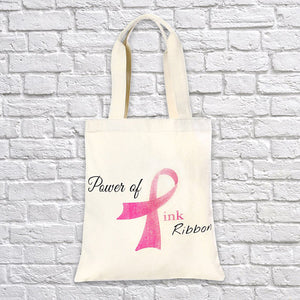 Power Of Pink Ribbon Tote Bag Eco Friendly Cancer Awareness Pink Ribbon - Love Family & Home