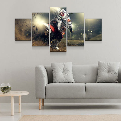 Image of Eat Dirt Motocross Dirt Bike MX 5-Piece Canvas Wall Art Hanging - Love Family & Home