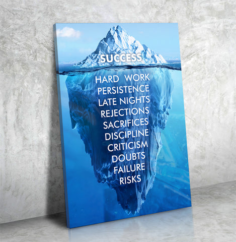 Success Hard Work Persistence Late Nights Quote Success Iceberg Framed Wall Art Canvas - Love Family & Home