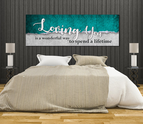 Image of Loving You Is A Wonderful Way To Spend A Lifetime Framed Canvas Wall Art For Couples - Love Family & Home