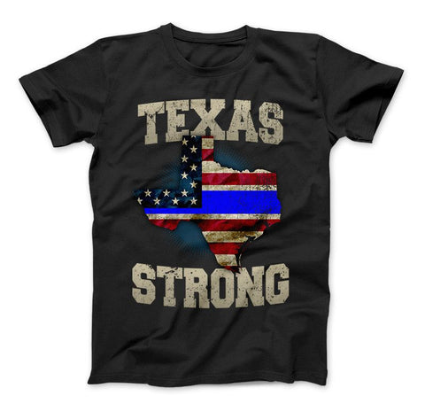 Texas Strong Thin Blue Line Law Enforcement Limited Edition Print T-Shirt & Apparel - Love Family & Home