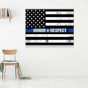 Honor Respect Thin Blue Line Canvas Wall Art - Love Family & Home