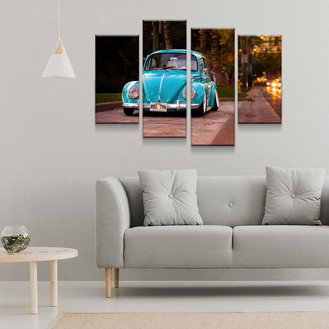Image of Volkswagen Beetle Bug 4-Piece Wall Art Canvas - Love Family & Home