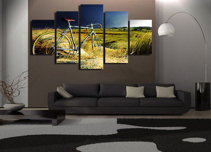 Vintage Bicycle Storm And Field 5-Piece Wall Art Canvas - Love Family & Home