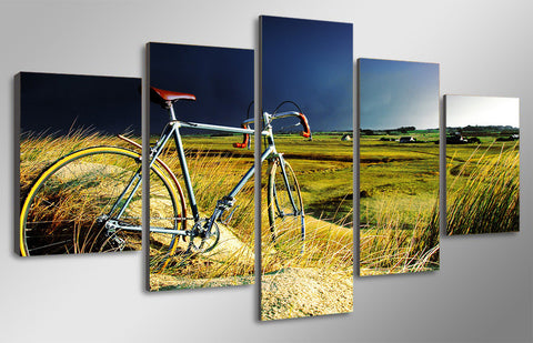 Image of Vintage Bicycle Storm And Field 5-Piece Wall Art Canvas - Love Family & Home