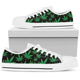 Weed Print Ladies Low Cut Canvas Shoes - White Sole