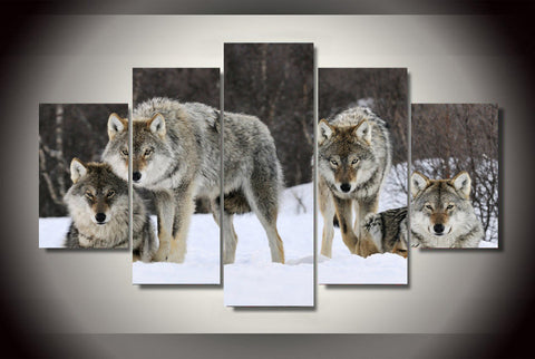 Wild Wolf Pack In Winter Snow 5-Piece Wall Art Canvas - Love Family & Home