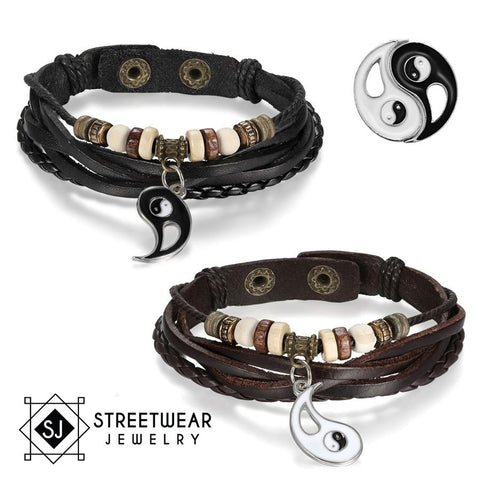 Image of Ying Yang His And Her's Couples Leather Bracelet 2Pc Set - Love Family & Home