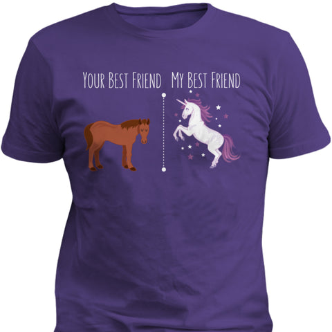 Image of Your Best Friend My Best Friend Horse Unicorn Funny T-Shirt For BFF's - Love Family & Home