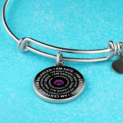 Image of Mantra Bangle I Am Balanced I Am Safe I Am Grounded Yoga Gift Motivational Jewelry - Love Family & Home