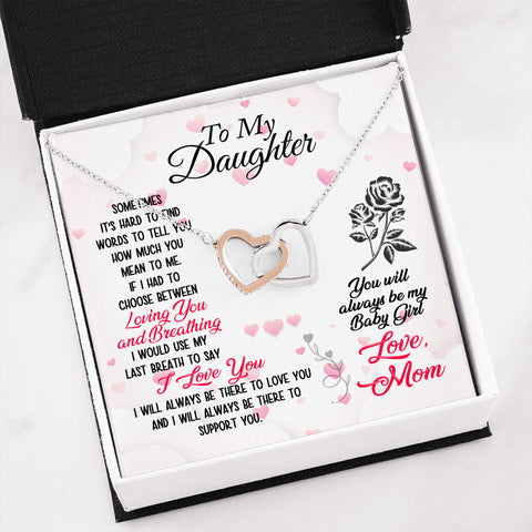 Image of To My Daughter You Will Always Be My Baby Girl Love Mom Interlocking Heart Necklace - Love Family & Home