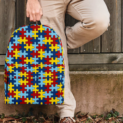 Autism Awareness Backpack Autism Puzzle Pattern Design - Love Family & Home
