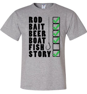 Fishing Checklist Rod Bait Beer Boat Fish Story Fishing Shirt - Love Family & Home