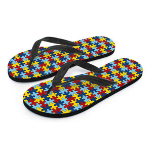 Ladies Flip Flops Autism Awareness - Love Family & Home