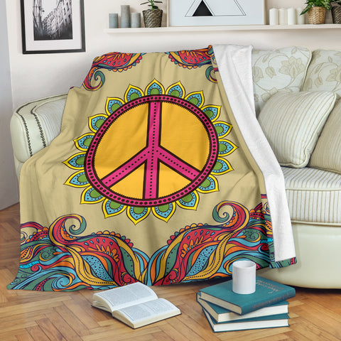 Image of Yellow Hippie Peace Blanket - Love Family & Home